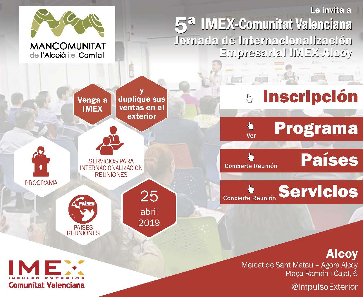 Invitación Jornada IMEX-Alcoy- Mancomunitat de l'Alcoià i el Comtat