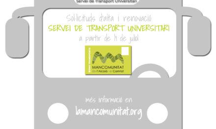 Sol·licituds del Servei de Transport Universitari STU per al curs 2019/2020