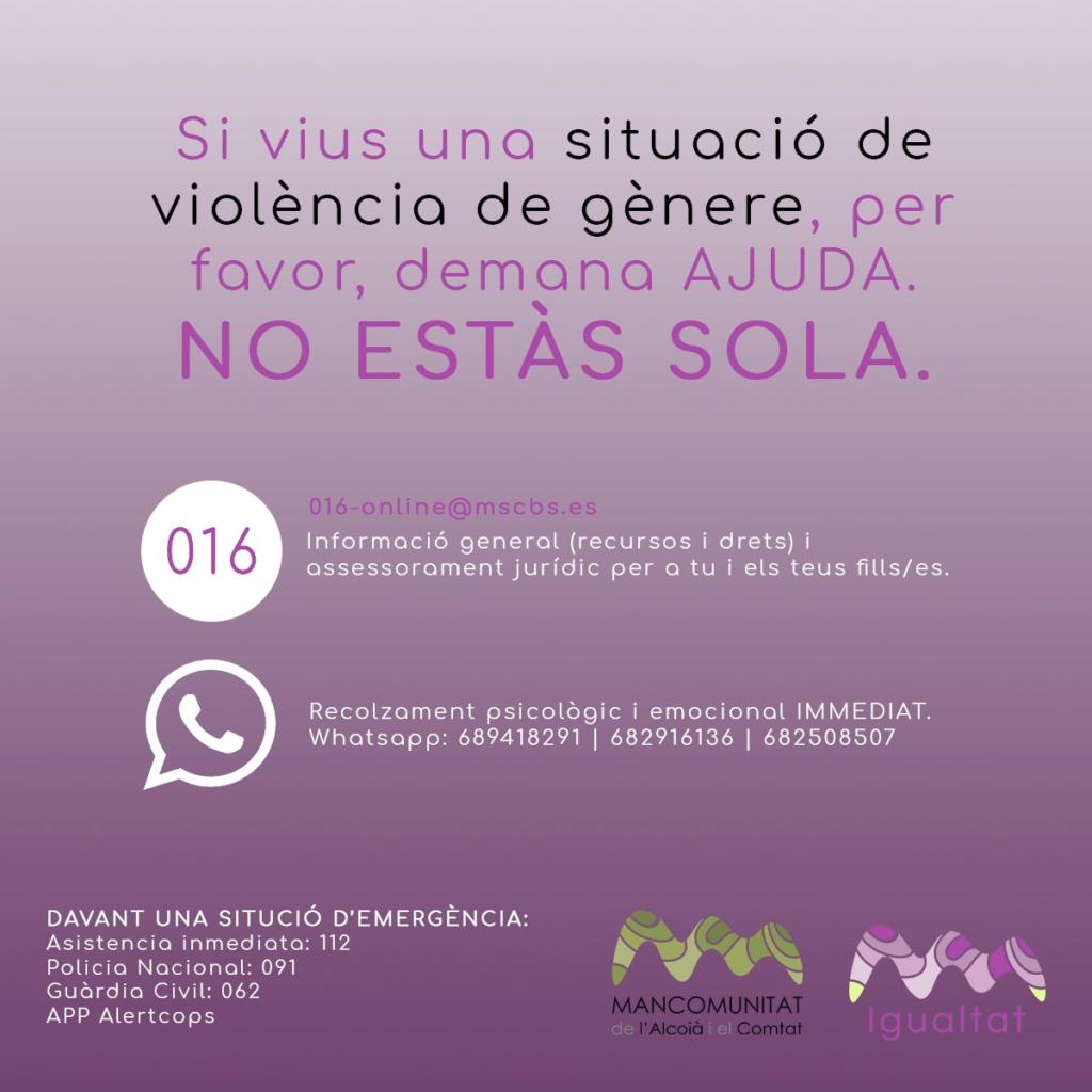 contacte igualtat violencia de gènere mancomunitat alcoià comtat