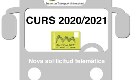Sol·licituds Servei de Transport Universitari curs 2020/2021