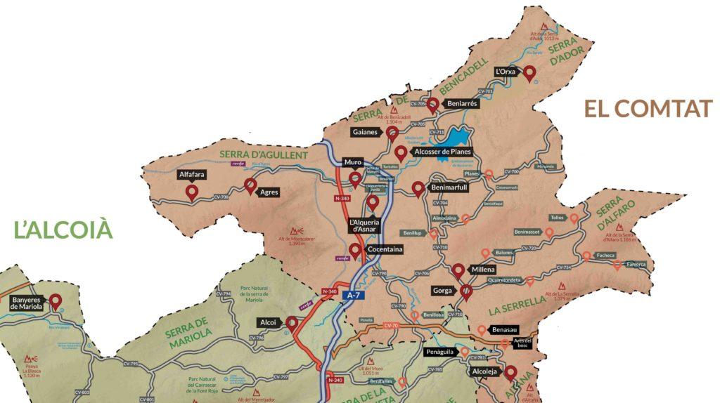 mapa municipis mancomunitat alcoià comtat